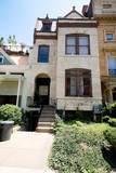 Painted Richardsonian Romanesque Row House DC US poster