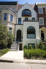 Painted Richardsonian Romanesque Row House DC USA