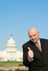 Lobbyist Thumbs Up Caucasian Man US Capitol