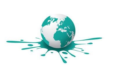 Globe with Paint Splash