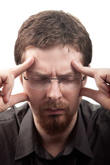 Man suffering from migraine or headache