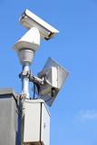 CCTV on blue sky poster
