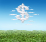 Money landscape prosperity cloud in the horizon dollar sign poster