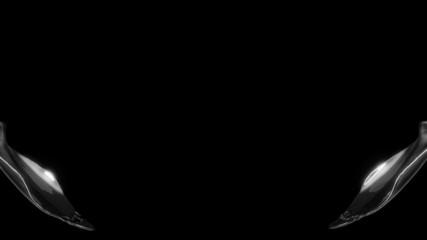 Liquid splash collision with slow motion over black