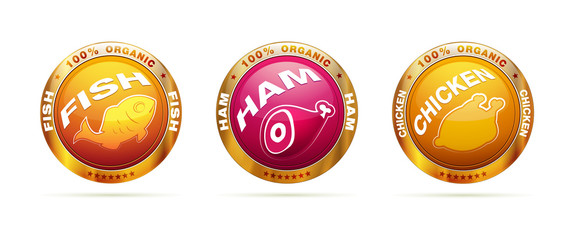 Organic food badge set | editable vector label collection