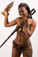 Ethnic Afro American woman with artifacts