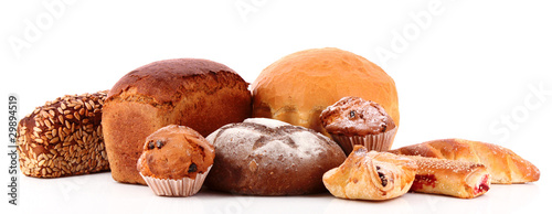 Fresh wheat bread. Isolated on white background