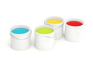Paint tanks isolated on white