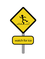Sign watch for ice
