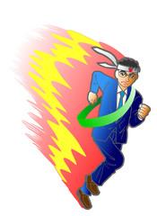 Japanese salarymen running