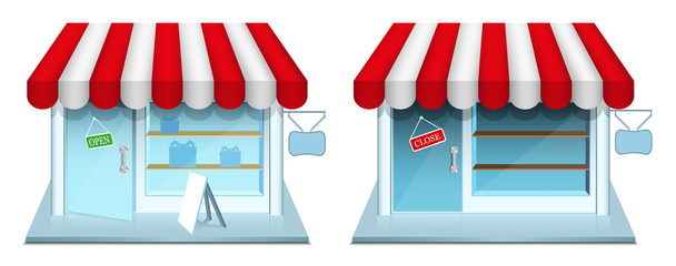Shop with closed and open door. Vector Icons.