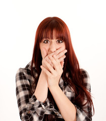 Surprised girl with hands on mouth isolated on white