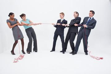 Businesswomen having tug-of-war against businessmen