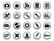 Collection of white web buttons