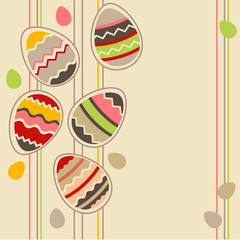 Pastel greeting card wirh different easter eggs