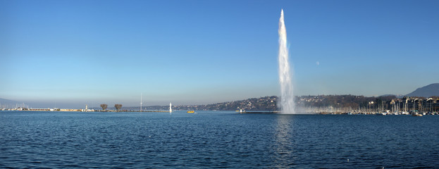 panoramic view on Geneva lake and famous Jet d'Eau fountain