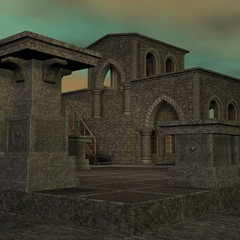 fantasy temple at dawn. 3D rendering of a fantasy theme for