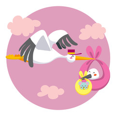 Stork double delivering a newborn baby stork and mouse