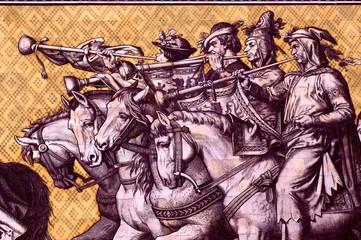 4 heralds on Wilhelm Walter's Fürstenzug ('Parade of Rulers )
