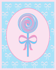 Pink and blue lollipop illustration