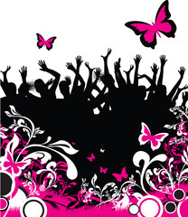 dancing and jumping people on a floral background