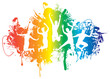 jumping people on a ink splat rainbow