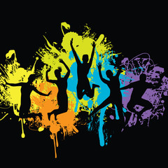 people jumping with ink splash background