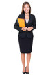 Business woman - real estate agent standing on white