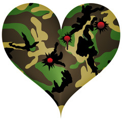 Heart in view of the camouflage, with bullet wound.Vector