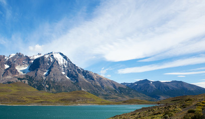 Scenic view of Pehoe lake in Torres del Paine national park, Chi