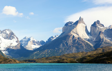Scenic view of Cuernos del Paine mountains in Torres del Paine n