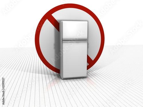 Kühlschrank mit Verbotsschild