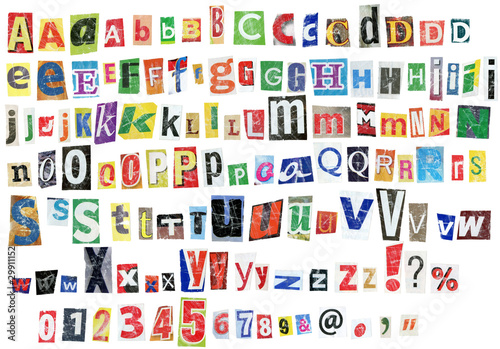 Staande foto Kranten Grunge alphabet