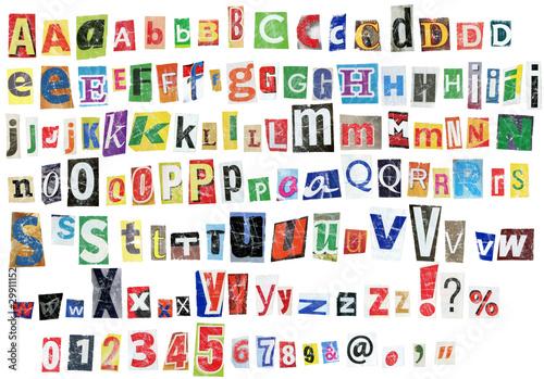 Foto op Aluminium Kranten Grunge alphabet