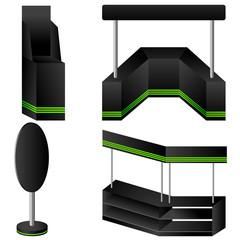 Set of 4 black display. Vector illustration.