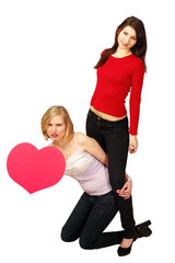 Valentine heart message board with two cute females