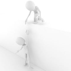 3d man helping another 3d man to climb