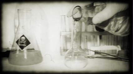 Retro style scientist conducts strange experiments