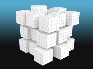 White cubes with grid