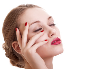 portrait beauty woman with red bright manicure on white backgrou
