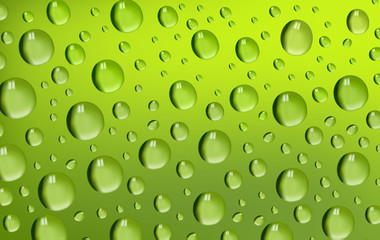 Vector illustration. Green water drops background.