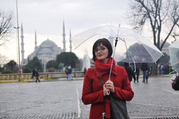 woman visit ancient istambul in turkey