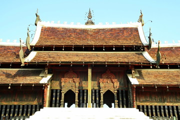 Ancient Thai wood buddha temple