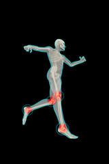 Figura umana in corsa con dolori