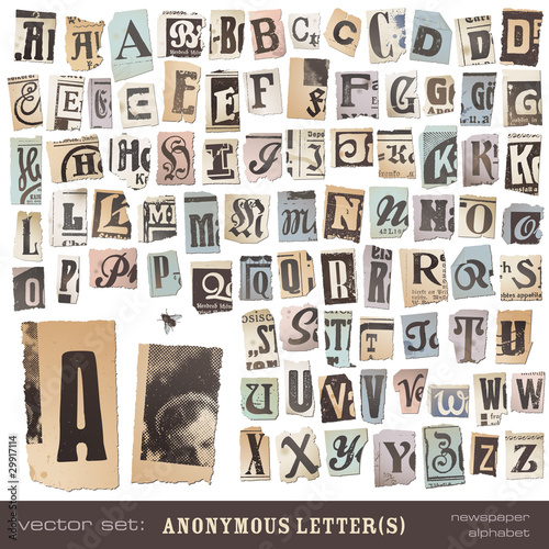 alphabet made of vintage (vector) newspaper cutouts