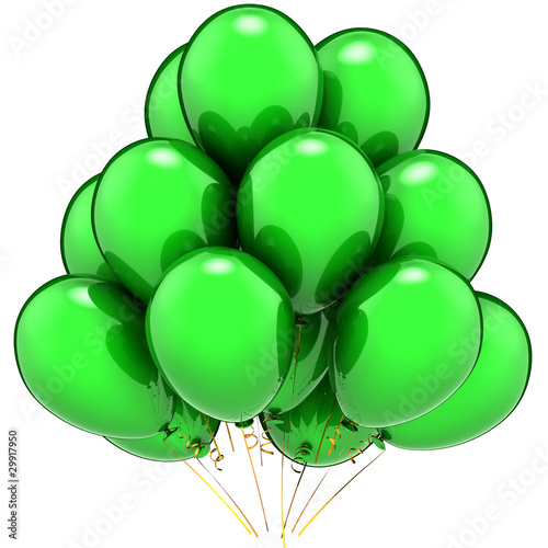 Leinwandbild Motiv Green balloons party. Beautiful contemporary birthday decoration