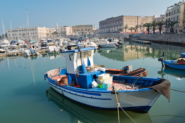 Panoramic view of Trani seaport. Apulia.