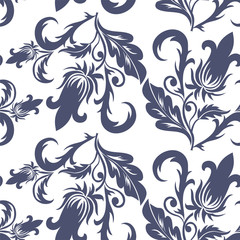 seamless dark blue floral pattern on a white background