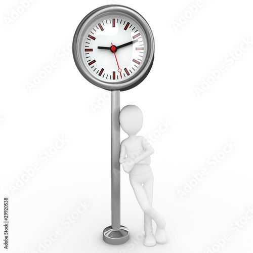 3d man with city clock on pedestal