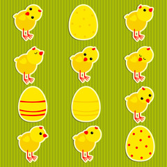 stickers with the chickens and eggs